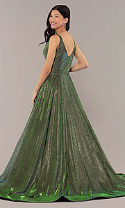 Image of ball-gown-style long v-neck iridescent prom dress. Style: NA-R274 Back Image