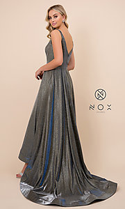 Image of ball-gown-style long v-neck iridescent prom dress. Style: NA-R274 Detail Image 2