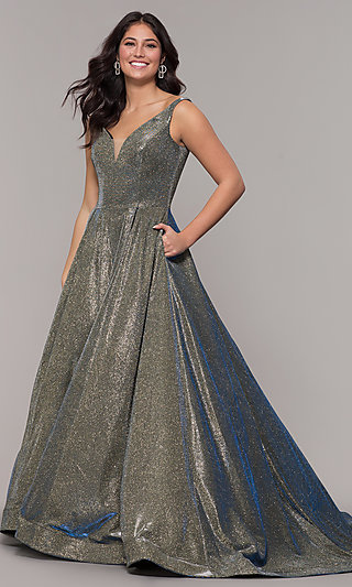 Ball-Gown-Style Long V-Neck Iridescent Prom Dress