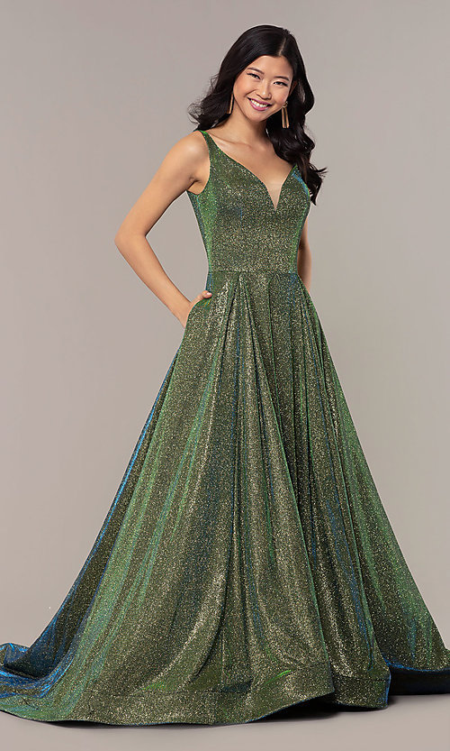 Image of ball-gown-style long v-neck iridescent prom dress. Style: NA-R274 Front Image