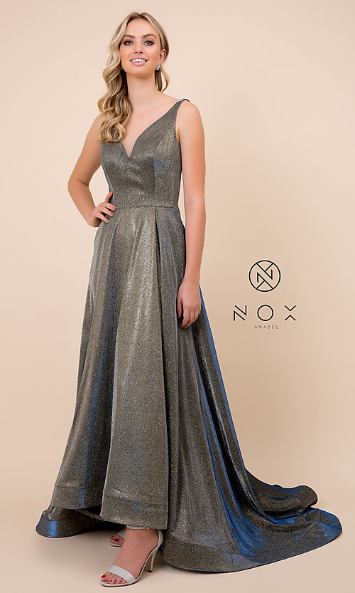 Image of ball-gown-style long v-neck iridescent prom dress. Style: NA-R274 Detail Image 1