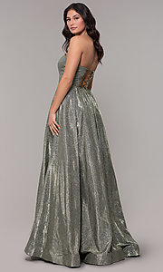 Image of long strapless sweetheart sparkly prom dress. Style: NA-T258 Back Image
