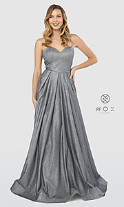 Image of long strapless sweetheart sparkly prom dress. Style: NA-T258 Detail Image 6