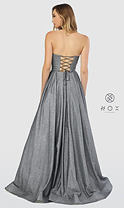 Image of long strapless sweetheart sparkly prom dress. Style: NA-T258 Detail Image 7