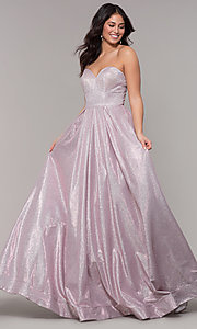 Image of long strapless sweetheart sparkly prom dress. Style: NA-T258 Detail Image 2