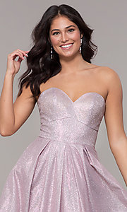 Image of long strapless sweetheart sparkly prom dress. Style: NA-T258 Detail Image 4