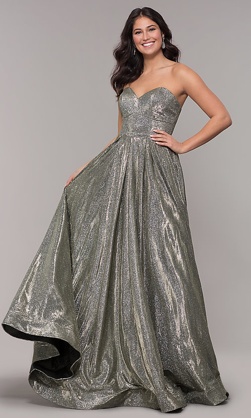 Image of long strapless sweetheart sparkly prom dress. Style: NA-T258 Front Image