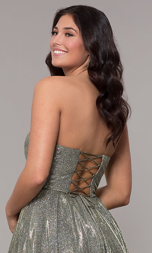 Image of long strapless sweetheart sparkly prom dress. Style: NA-T258 Detail Image 1