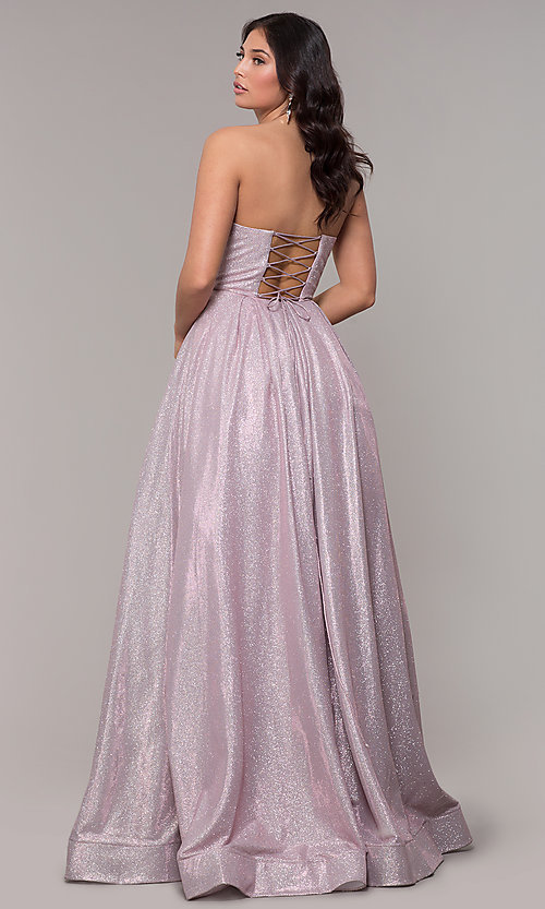 Image of long strapless sweetheart sparkly prom dress. Style: NA-T258 Detail Image 3