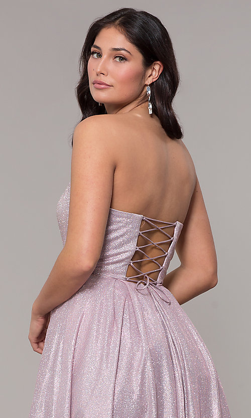 Image of long strapless sweetheart sparkly prom dress. Style: NA-T258 Detail Image 5