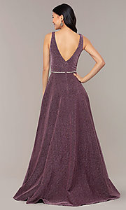 Image of long metallic jersey v-neck formal prom dress. Style: DQ-2706 Detail Image 7