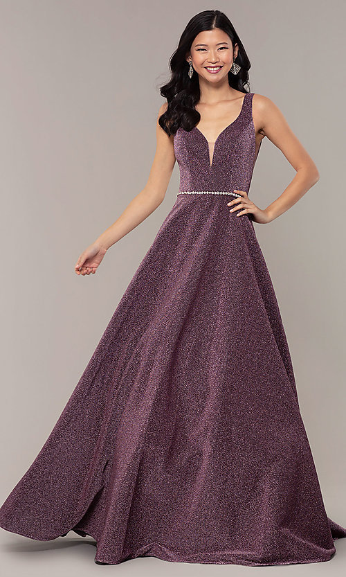 Image of long metallic jersey v-neck formal prom dress. Style: DQ-2706 Detail Image 6