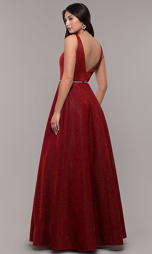 Image of long metallic jersey v-neck formal prom dress. Style: DQ-2706 Back Image