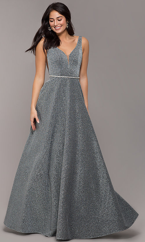 Image of long metallic jersey v-neck formal prom dress. Style: DQ-2706 Detail Image 3