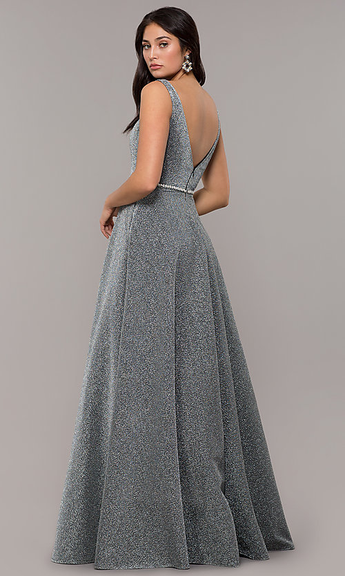 Image of long metallic jersey v-neck formal prom dress. Style: DQ-2706 Detail Image 4