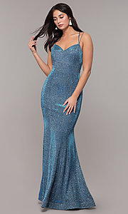 Image of corset-back long metallic formal mermaid dress. Style: DQ-2698 Back Image