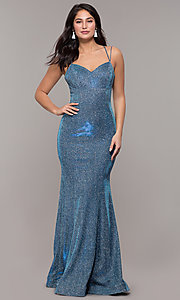 Image of corset-back long metallic formal mermaid dress. Style: DQ-2698 Detail Image 3