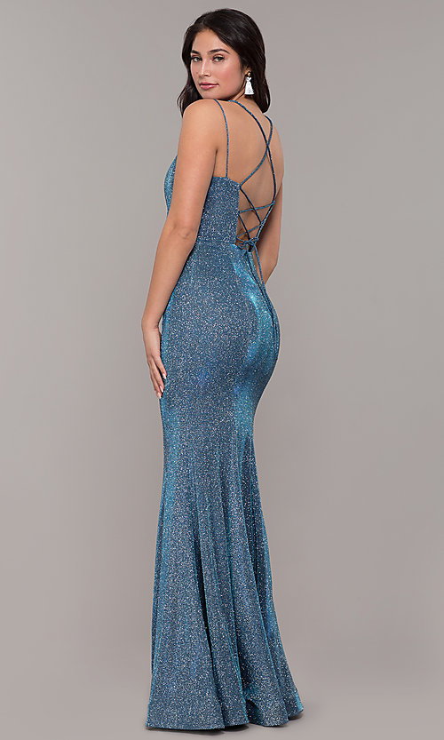 Image of corset-back long metallic formal mermaid dress. Style: DQ-2698 Front Image