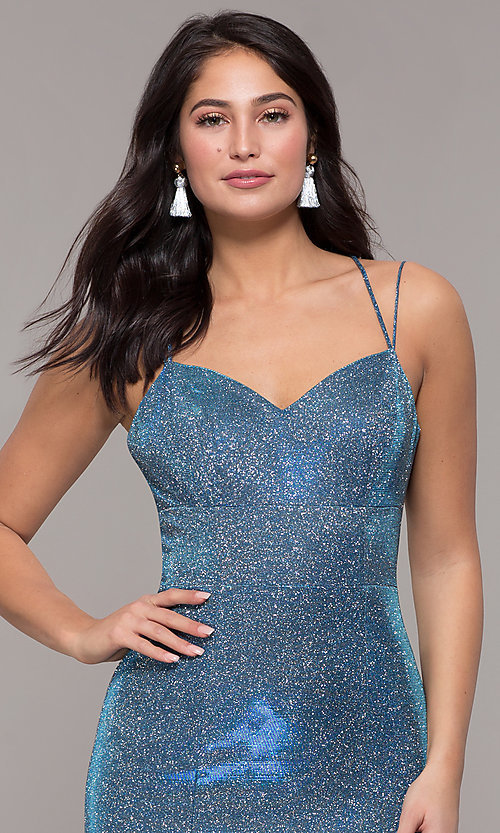Image of corset-back long metallic formal mermaid dress. Style: DQ-2698 Detail Image 1