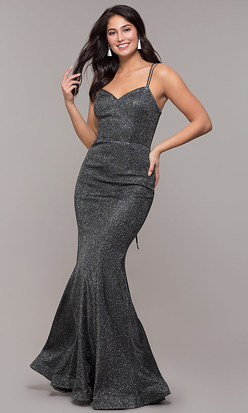 Image of corset-back long metallic formal mermaid dress. Style: DQ-2698 Detail Image 4