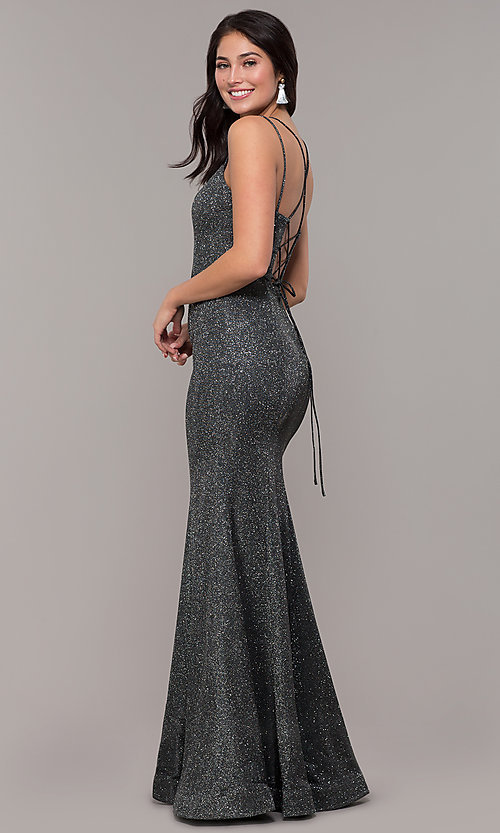 Image of corset-back long metallic formal mermaid dress. Style: DQ-2698 Detail Image 5