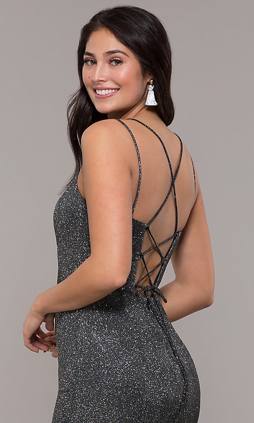 Image of corset-back long metallic formal mermaid dress. Style: DQ-2698 Detail Image 7
