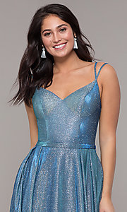 Image of long sparkly formal prom dress with pockets. Style: DQ-2720 Detail Image 4