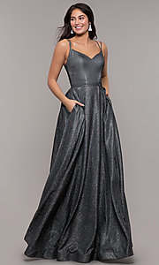 Image of long sparkly formal prom dress with pockets. Style: DQ-2720 Detail Image 6
