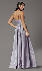 Image of long sparkly formal prom dress with pockets. Style: DQ-2720 Back Image