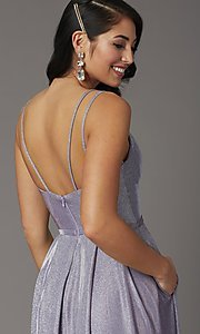 Image of long sparkly formal prom dress with pockets. Style: DQ-2720 Detail Image 1