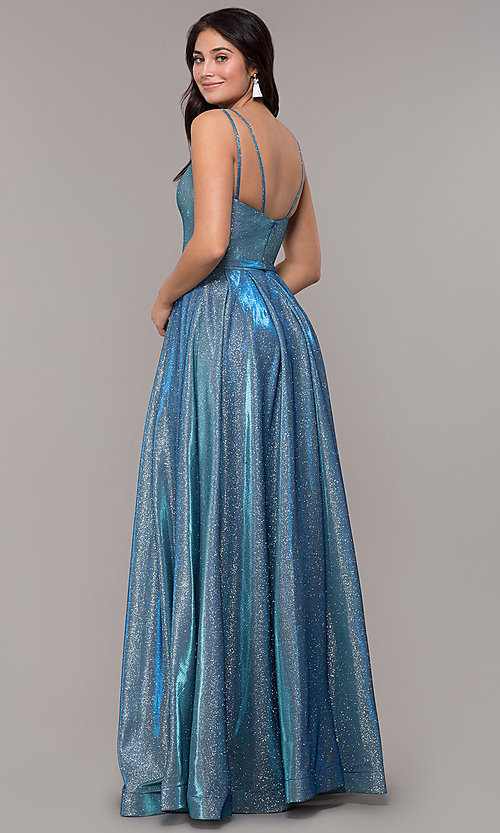 Image of long sparkly formal prom dress with pockets. Style: DQ-2720 Detail Image 3