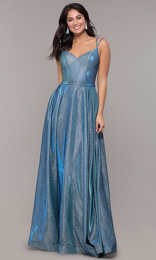 Image of long sparkly formal prom dress with pockets. Style: DQ-2720 Detail Image 2