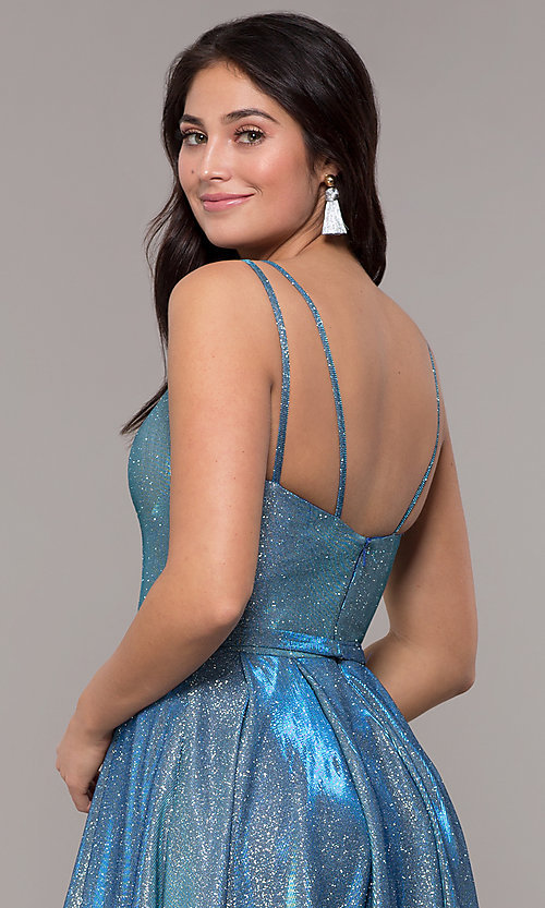 Image of long sparkly formal prom dress with pockets. Style: DQ-2720 Detail Image 5