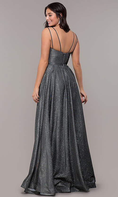 Image of long sparkly formal prom dress with pockets. Style: DQ-2720 Detail Image 7