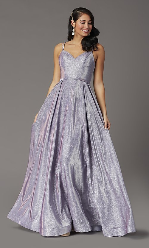 Image of long sparkly formal prom dress with pockets. Style: DQ-2720 Front Image