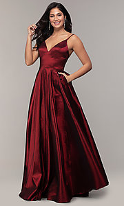 Image of v-neck long a-line taffeta formal prom dress. Style: DQ-2825 Detail Image 4
