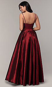 Image of v-neck long a-line taffeta formal prom dress. Style: DQ-2825 Detail Image 5