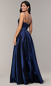 Image of v-neck long a-line taffeta formal prom dress. Style: DQ-2825 Back Image