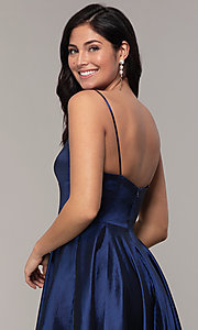 Image of v-neck long a-line taffeta formal prom dress. Style: DQ-2825 Detail Image 2