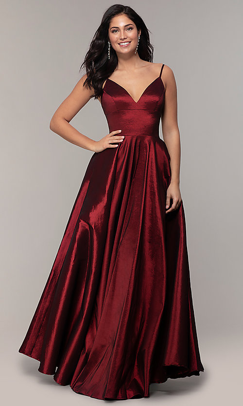 Image of v-neck long a-line taffeta formal prom dress. Style: DQ-2825 Detail Image 3