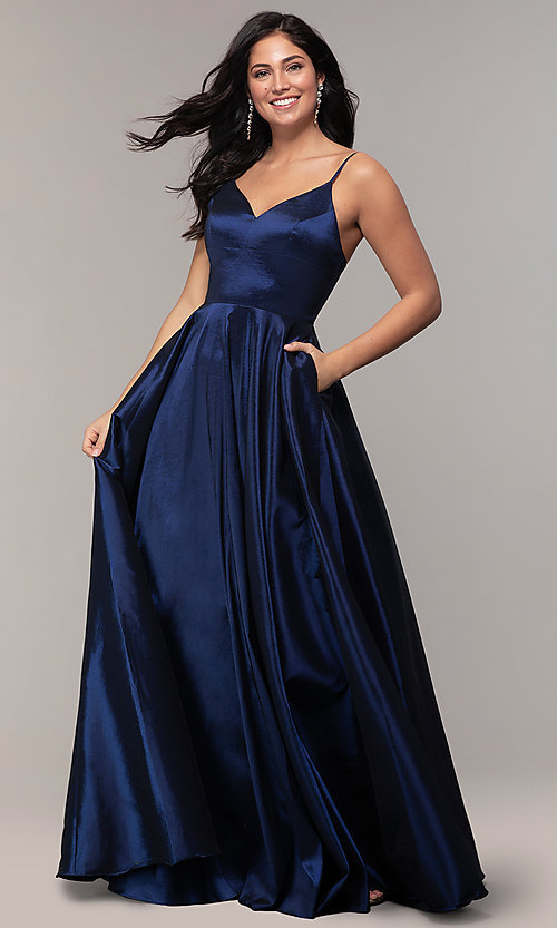 Image of v-neck long a-line taffeta formal prom dress. Style: DQ-2825 Front Image