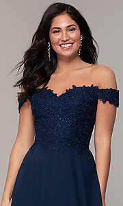 Image of beaded-bodice off-the-shoulder long formal dress. Style: DQ-2492 Detail Image 1