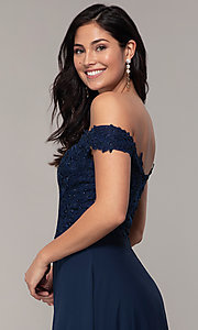 Image of beaded-bodice off-the-shoulder long formal dress. Style: DQ-2492 Detail Image 2