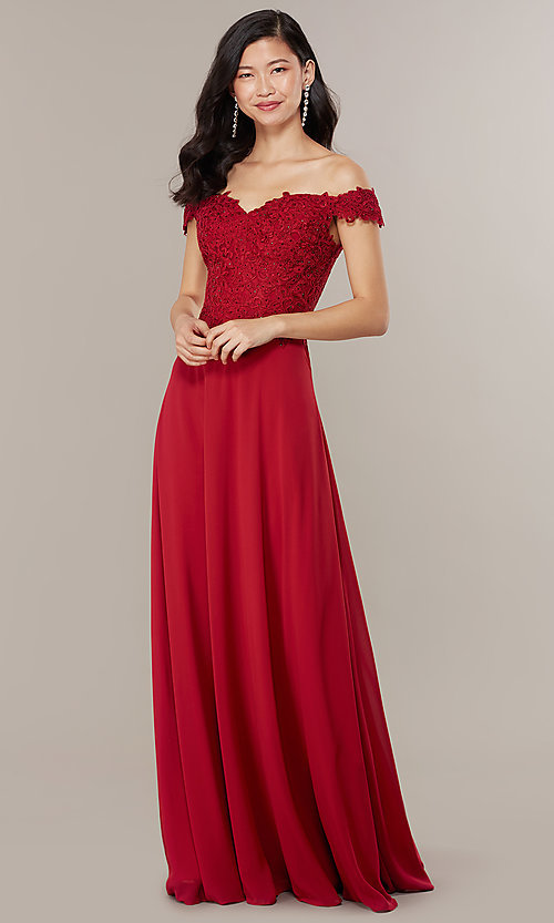 Image of beaded-bodice off-the-shoulder long formal dress. Style: DQ-2492 Detail Image 3