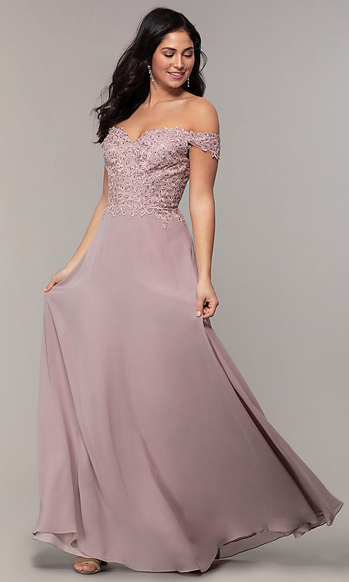 Image of beaded-bodice off-the-shoulder long formal dress. Style: DQ-2492 Detail Image 6