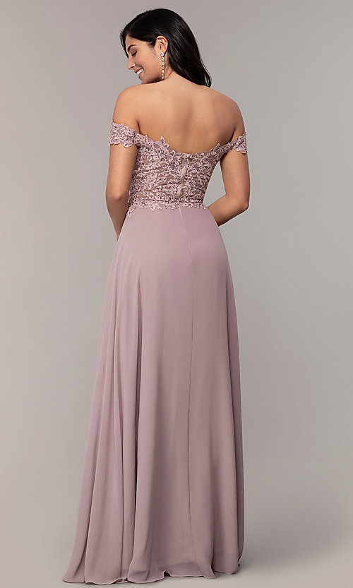 Image of beaded-bodice off-the-shoulder long formal dress. Style: DQ-2492 Detail Image 7