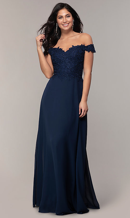 Image of beaded-bodice off-the-shoulder long formal dress. Style: DQ-2492 Front Image