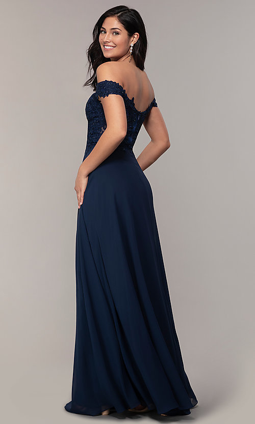 Image of beaded-bodice off-the-shoulder long formal dress. Style: DQ-2492 Back Image