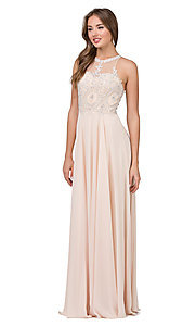 Image of embellished-bodice chiffon long formal prom dress. Style: DQ-2234 Detail Image 6