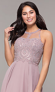 Image of embellished-bodice chiffon long formal prom dress. Style: DQ-2234 Detail Image 1